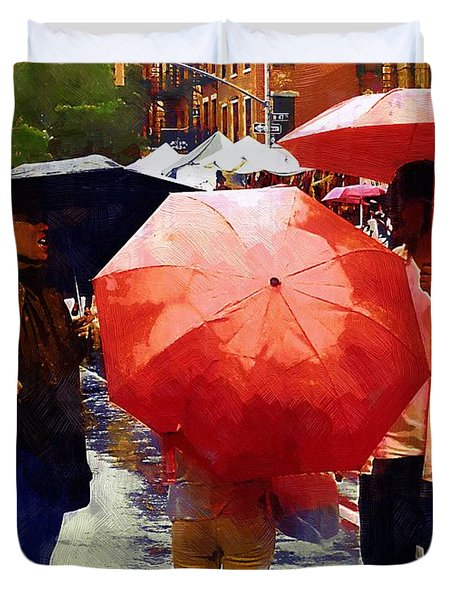 Red Umbrellas In The Rain Duvet Cover by RC deWinter