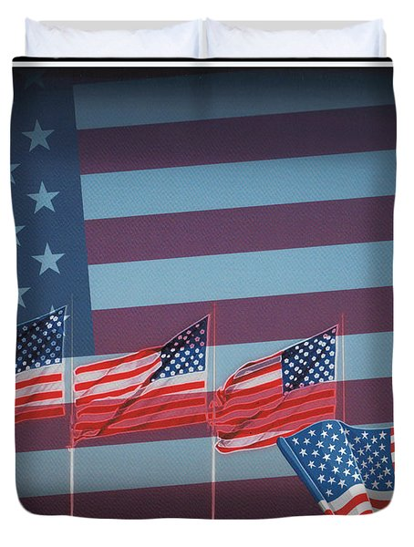 Red White And Blue Duvet Cover by Kay Novy