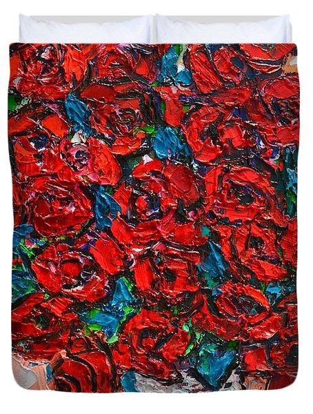 Red Wild Roses Duvet Cover by Ana Maria Edulescu