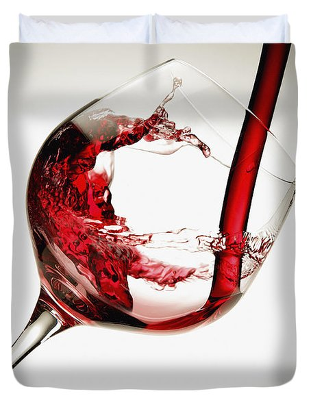 Red Wine Pouring Into A Glass Duvet Cover by Richard Desmarais