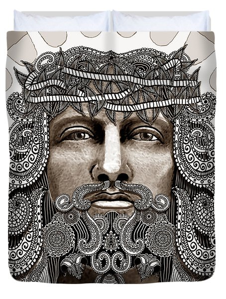 Redeemer - Modern Jesus Iconography - copyrighted Duvet Cover by Christopher Beikmann