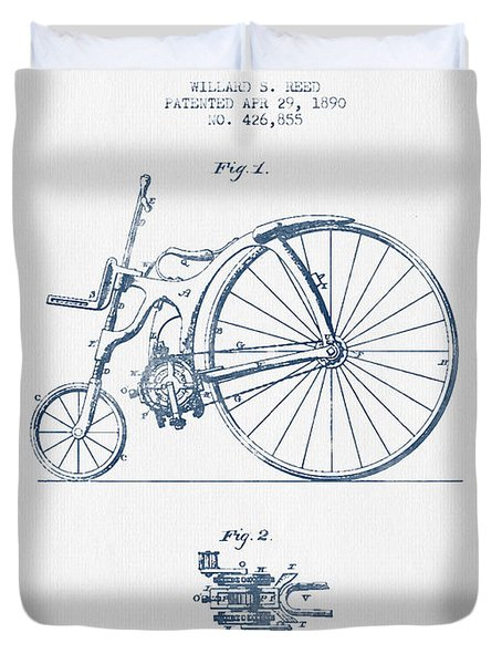 Reed Bicycle Patent Drawing From 1890 - Blue Ink Duvet Cover by Aged Pixel