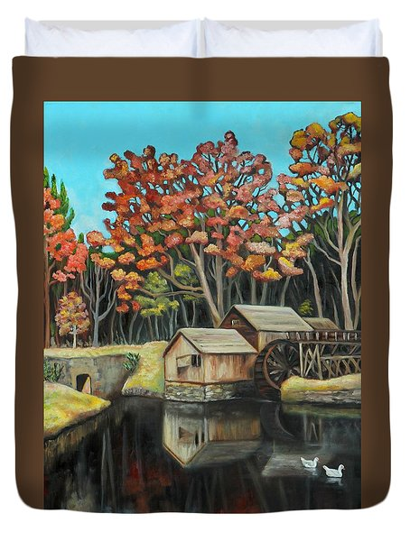 Reflections Of Mabry Mill Duvet Cover by Eve  Wheeler
