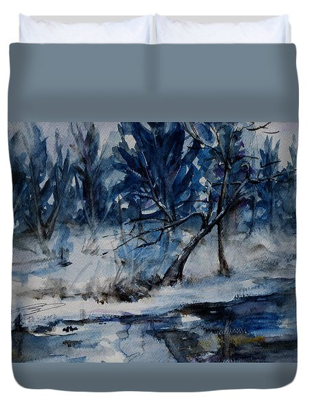 Reflections Of Winter Duvet Cover by Xueling Zou