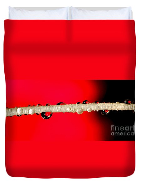 Refractions Of A Red Rose Duvet Cover by Kaye Menner