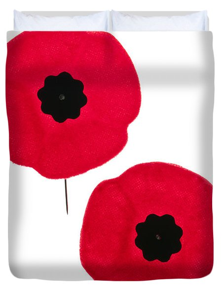Remembrance Day Poppies Duvet Cover by Elena Elisseeva