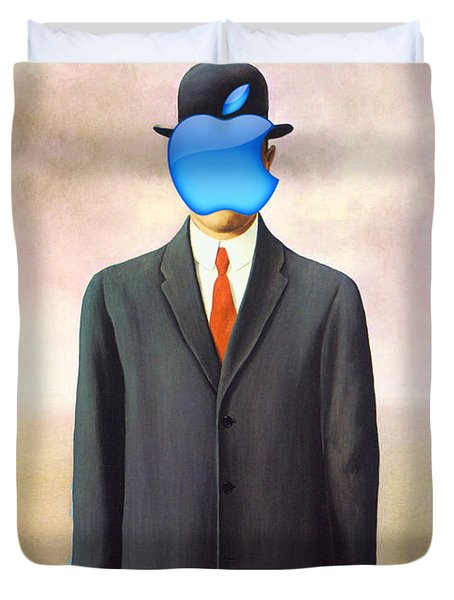 Rene Magritte Son Of Man Apple Computer Logo Duvet Cover by Tony Rubino