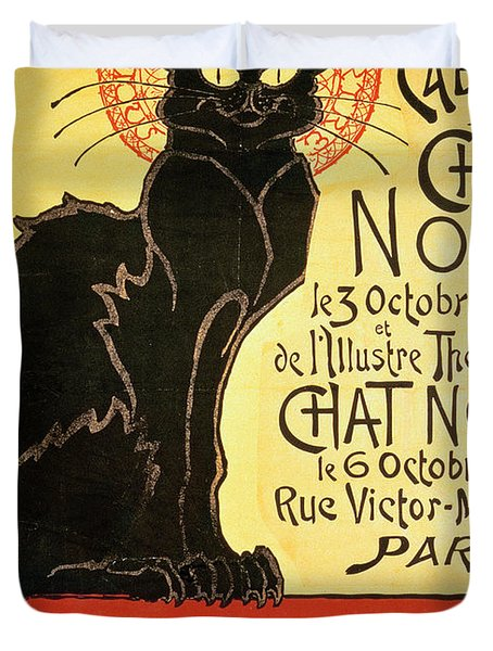 Reopening Of The Chat Noir Cabaret Duvet Cover by Theophile Alexandre Steinlen