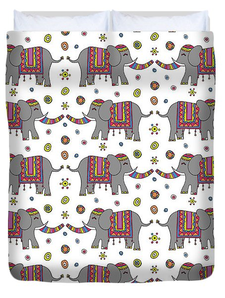 Repeat Print - Indian Elephant Duvet Cover by Susan Claire