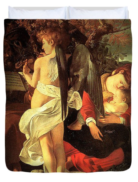 Rest on the Flight into Egypt Duvet Cover by Caravaggio