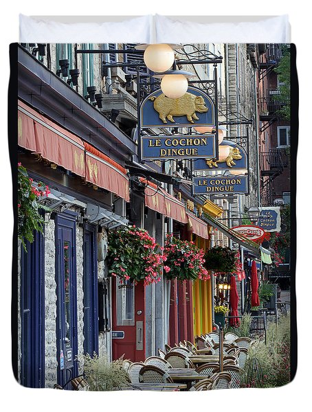 Restaurant Le Cochon Dingue In The Old Port Of Quebec City Duvet Cover by Juergen Roth
