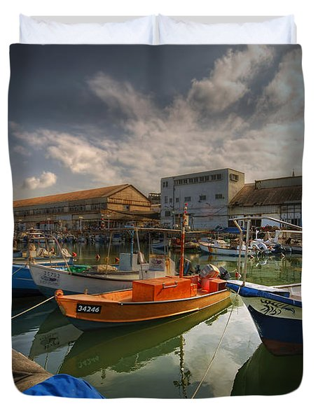 resting boats at the Jaffa port Duvet Cover by Ron Shoshani