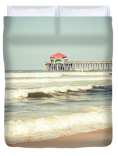 Retro Photo of Huntington Beach Pier  Duvet Cover by Paul Velgos