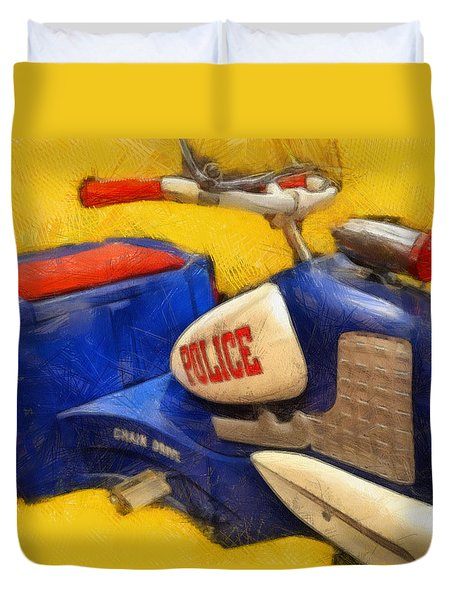 Retro Police Tricycle Duvet Cover by Michelle Calkins