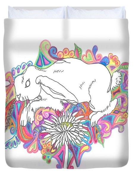 Retro Rabbit Duvet Cover by Cherie Sexsmith