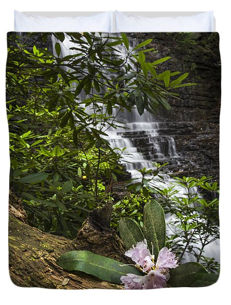 Rhododendron At The Falls Duvet Cover by Debra and Dave Vanderlaan