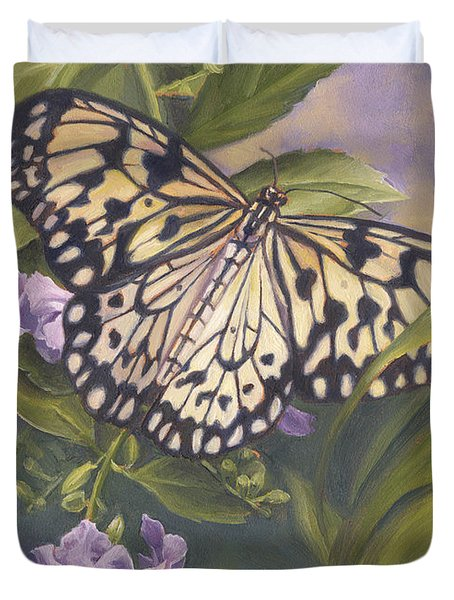 Rice Paper Butterfly Duvet Cover by Lucie Bilodeau