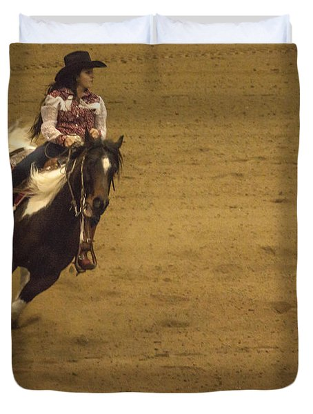 Riding Around The Barrel Duvet Cover by Janice Rae Pariza