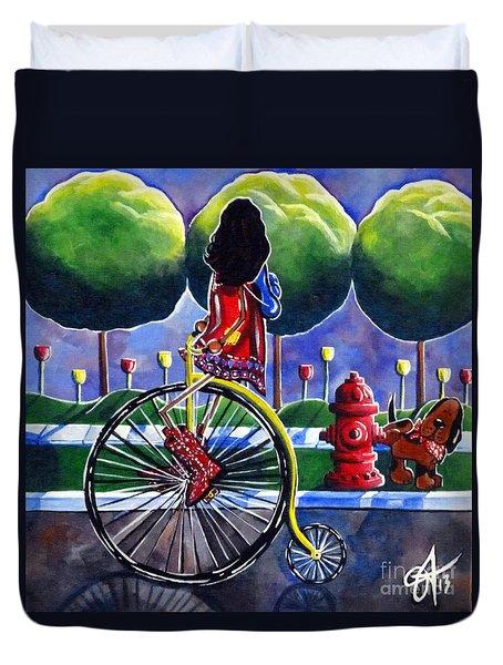 Riding Grandmas Bike Duvet Cover by Jackie Carpenter