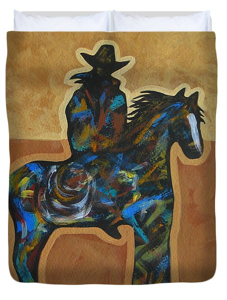 Riding Solo Duvet Cover by Lance Headlee