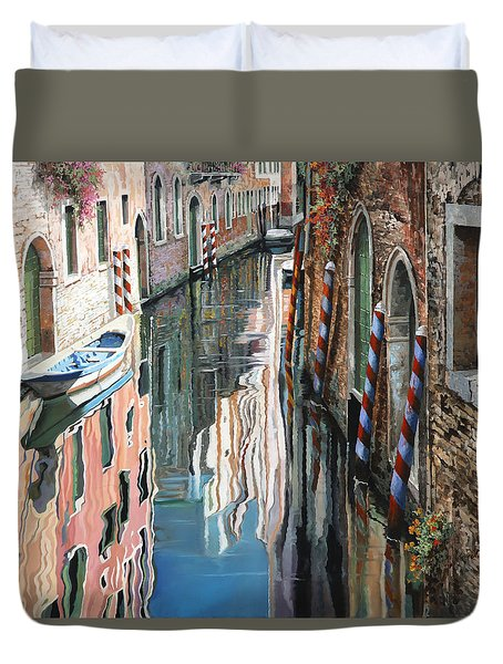 Riflessi Colorati A Venezia Duvet Cover by Guido Borelli
