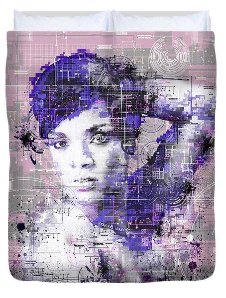 Rihanna 3 Duvet Cover by Bekim Art