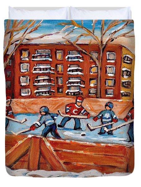 Rink Hockey Game-winter Scene Painting-montreal Street Scenes Duvet Cover by Carole Spandau