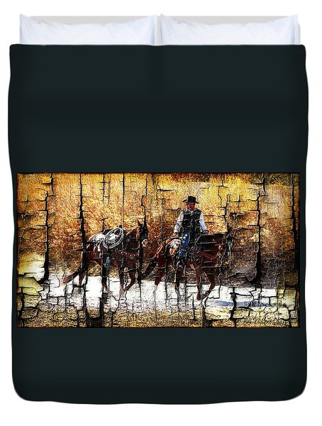 Rio Cowboy With Horses  Duvet Cover by Barbara Chichester