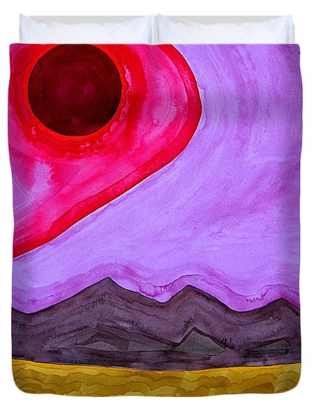 Rio Grande Gorge Original Painting Duvet Cover by Sol Luckman