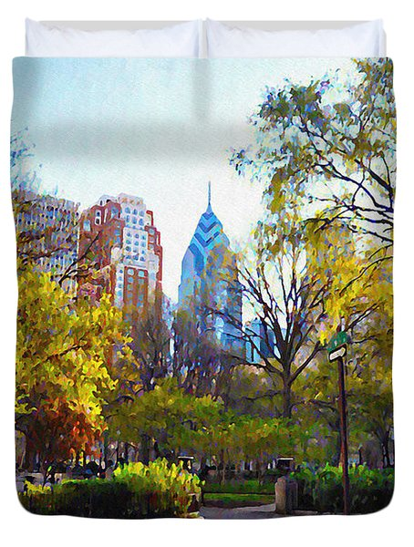 Rittenhouse Square in the Spring Duvet Cover by Bill Cannon