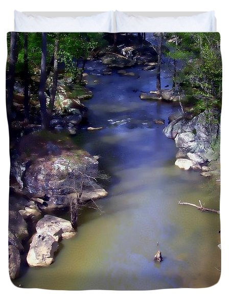 River At Noccalula Falls Duvet Cover by Debra Forand