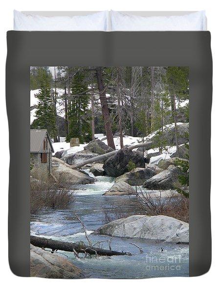 River Cabin Duvet Cover by Bobbee Rickard
