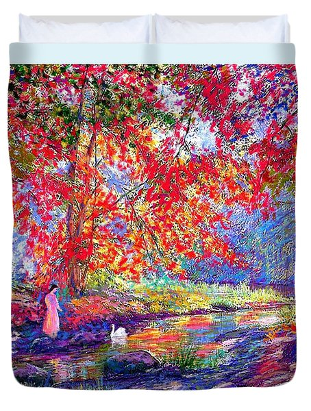 River Of Life, Colors Of Fall Duvet Cover by Jane Small