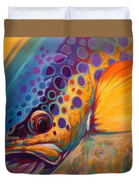River Orchid - Brown Trout Duvet Cover by Savlen Art