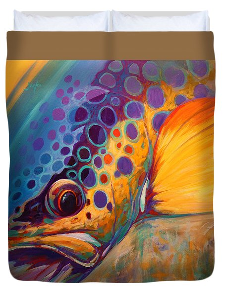 River Orchid - Brown Trout Duvet Cover by Savlen Art