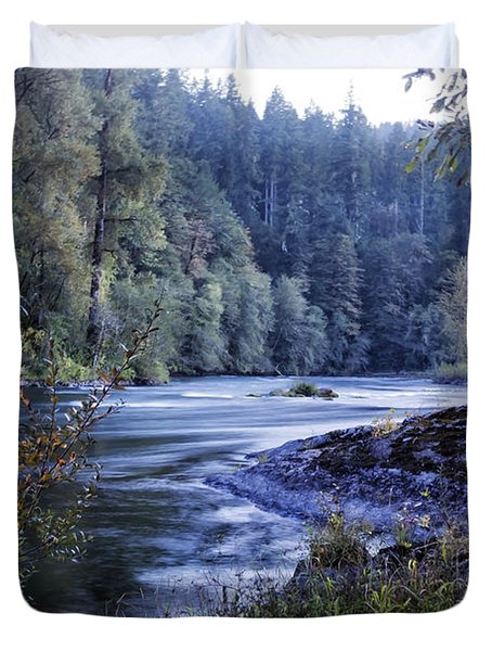 Riverflow At Dusk Duvet Cover by Belinda Greb