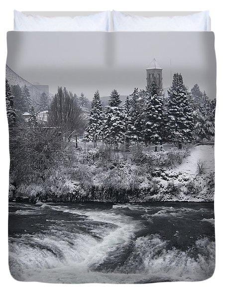 RIVERFRONT PARK WINTER STORM - SPOKANE WASHINGTON Duvet Cover by Daniel Hagerman