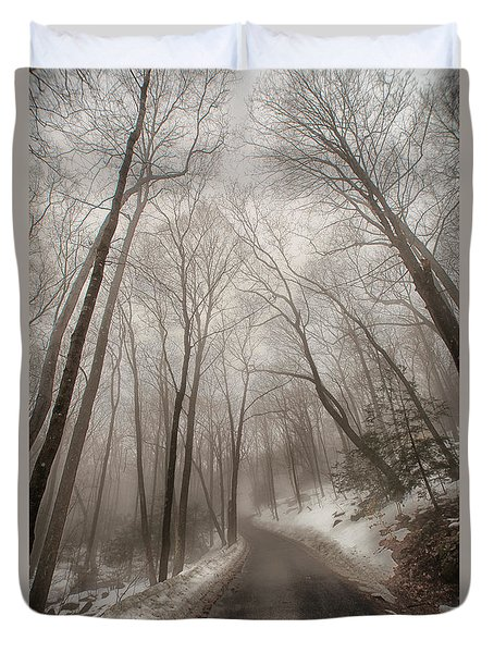 Road To Winter Duvet Cover by Karol Livote