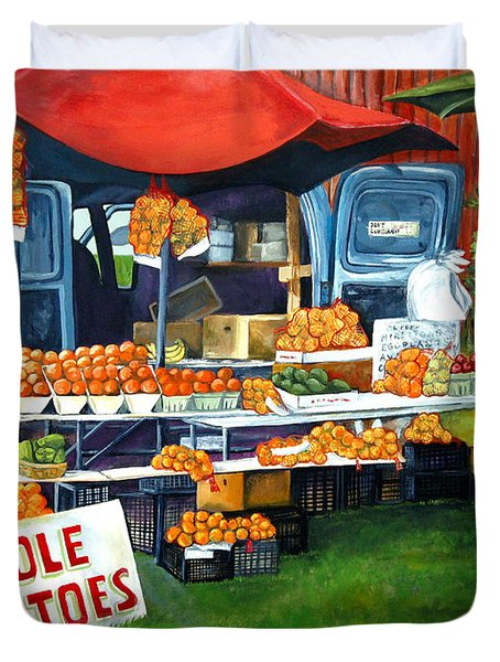 Roadside Market Duvet Cover by Elaine Hodges