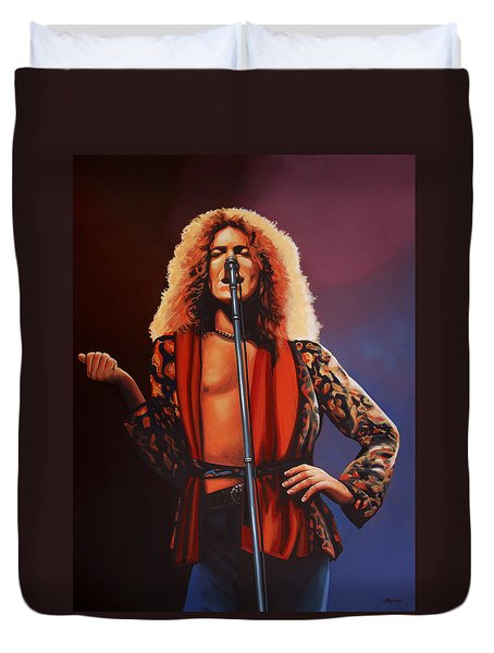 Robert Plant Of Led Zeppelin Duvet Cover by Paul Meijering
