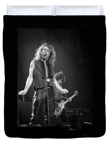 Robert Plant And Jimmy Page Duvet Cover by Timothy Bischoff