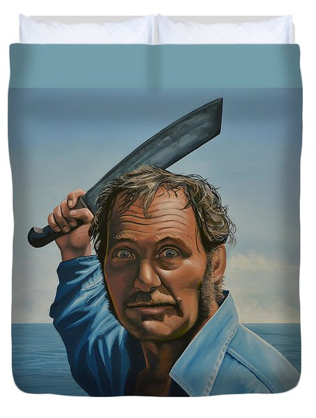 Robert Shaw In Jaws Duvet Cover by Paul Meijering