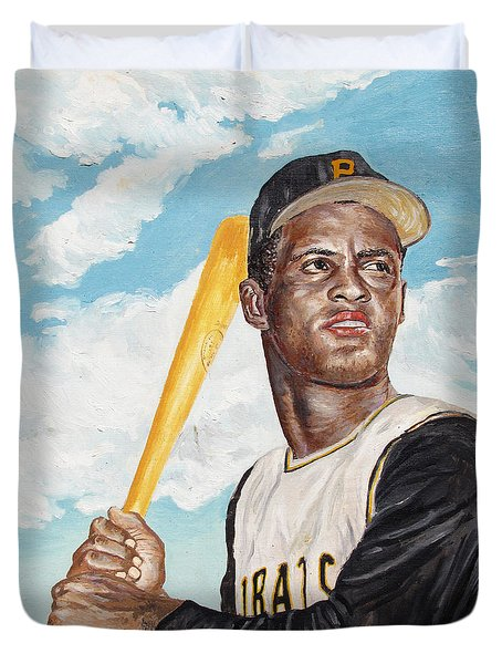 Roberto Clemente Duvet Cover by Philip Lee
