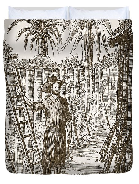 Robinson Crusoe Building His Bower Duvet Cover by English School