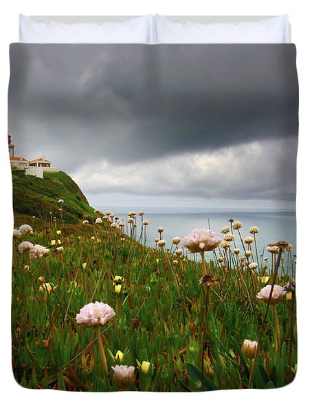 Roca Lighthouse Duvet Cover by Carlos Caetano