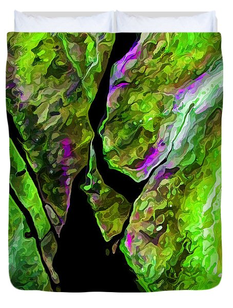 Rock Art 17 in Green Duvet Cover by Bill Caldwell -        ABeautifulSky Photography