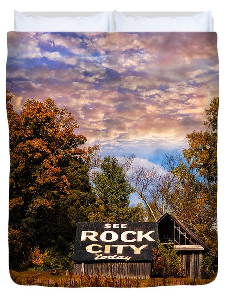 Rock City Barn Duvet Cover by Debra and Dave Vanderlaan