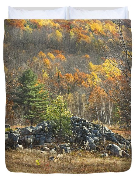 Rock Pile In Maine Blueberry Field Duvet Cover by Keith Webber Jr