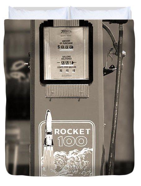 Rocket 100 Gasoline - Tokheim Gas Pump 2 Duvet Cover by Mike McGlothlen