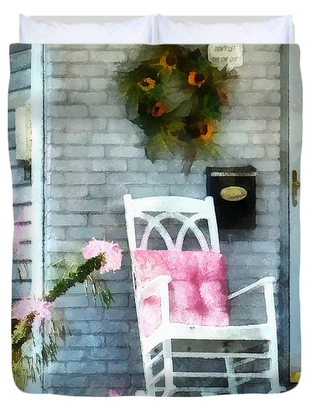 Rocking Chair With Pink Pillow Duvet Cover by Susan Savad